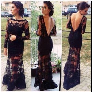 Dresses & Skirts - NWT floral lace open back see through gown
